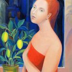 Girl with lemons tempera su tela 90x70 2011